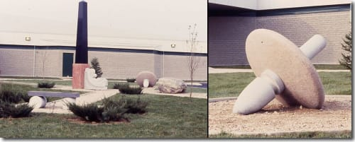 Public Sculptures by Roger Gaudreau seen at École Cascatelle, Kingsey Falls - Garden