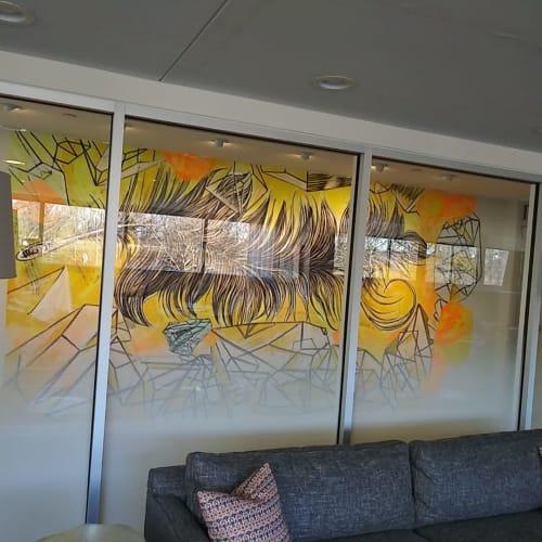 Murals by Paul Santoleri seen at Park Towne Place Premier Apartment Homes, Philadelphia - Feather crystals
