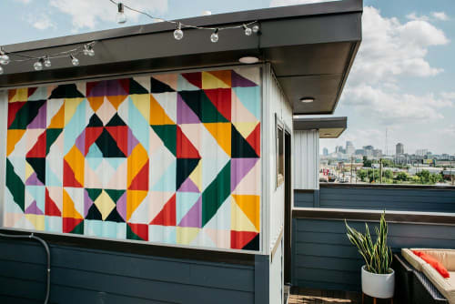 Murals by Maggie Sanger Design seen at East Nashville, Nashville - Rooftop mural