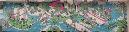Murals by Nigel Sussman seen at Robinhood, Lake Mary - Robinhood Cats - Florida Mural