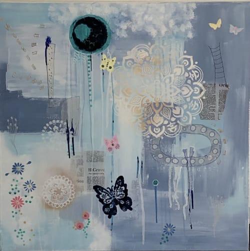 Paintings by Margaret Alice Høiesen seen at Stavanger Sentrum, Stavanger - Blue collage