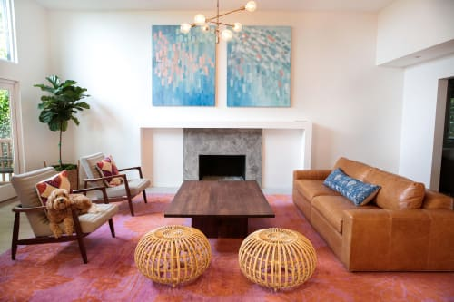 Rugs by Emma Gardner Design, LLC seen at Private Residence, Pacific Palisades, Los Angeles, CA, Los Angeles - Flowers on Water (fiery orange pink), Spray (seablue gold) and Kaleidoscope (orange)