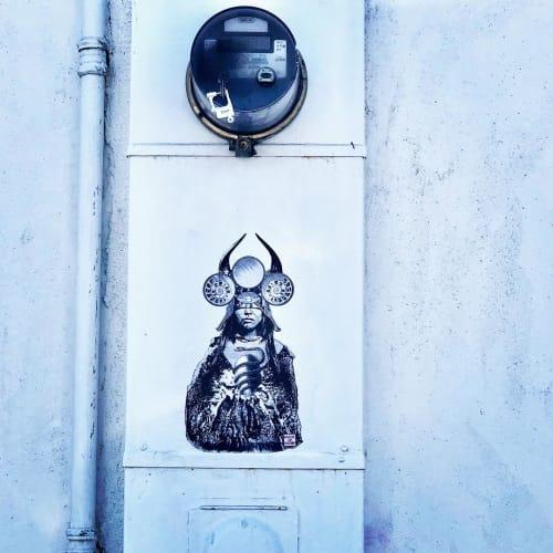 Street Murals by Made of Hagop seen at Venice Beach, Los Angeles - Aztec Princess