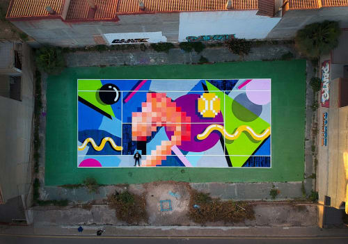 Street Murals by Dante Arcade seen at Private Residence, Murcia - Playing The Flamingo Pixel