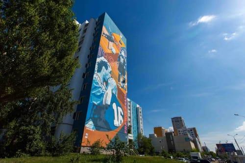 "Street Murals by Khodak Nikita seen at Ulitsa Novo-Sadovaya, Samara - ""Kiss Bartheza"" mural"
