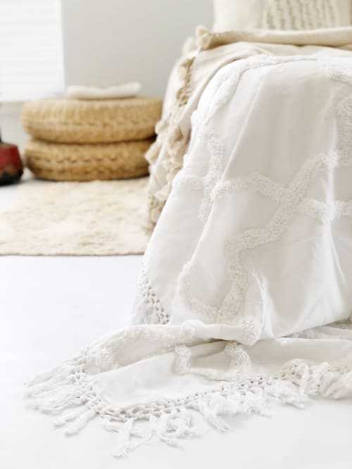 Linens & Bedding by Coastal Boho Studio seen at Creator's Studio, Destin - Sandy Handwoven Bedspread - Egg Shell | Pre-Order