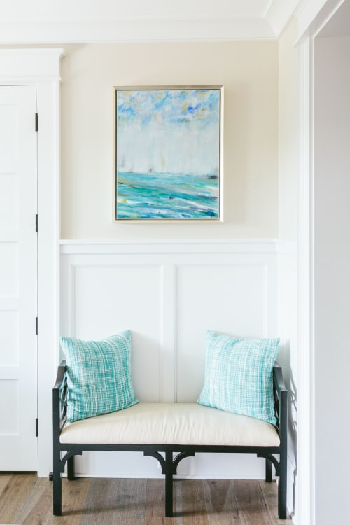 Macrame Wall Hanging by Vicki P. Maguire seen at Private Residence - Commission for Elegant Coastal Foyer  for two Oil paintings to complete New Build Design for my Client.  Original Art.