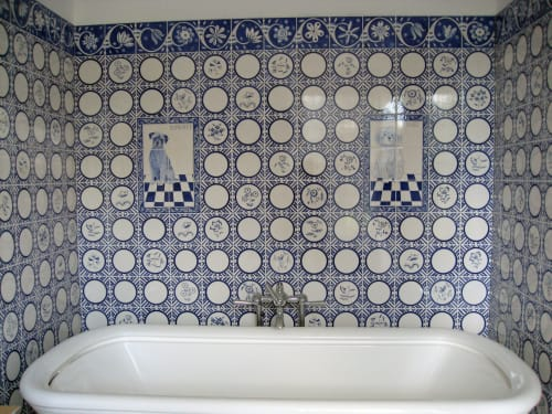 Tiles by Reptile Tiles seen at Private Residence, London - Blue and white Delft tiles
