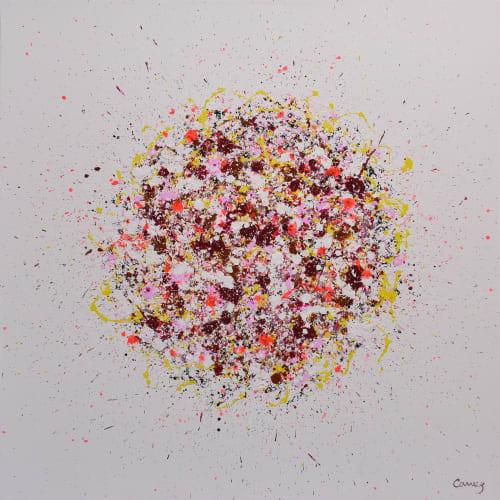 Paintings by Lisa Carney seen at Creator's Studio, Sainte-Anne-des-Plaines - Petal Burst 39, acrylic painting on canvas