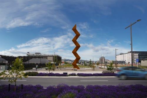 Public Sculptures by Sēmisi Fetokai Potauaine seen at Rauora Park, Christchurch - Vaka 'A Hina