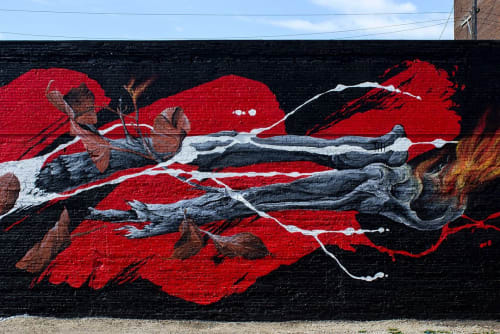 Street Murals by David 'MEGGS' Hooke seen at Eastern Market, Detroit - Give More, Take Less