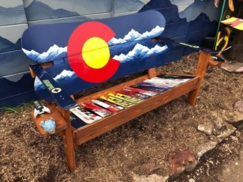 Benches & Ottomans by Colorado Ski Chairs seen at Private Residence, Manitou Springs - Colorado Flag Navy Blue Mountain Snowboard Bench