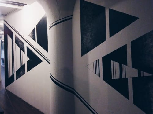 Murals by LAMKAT seen at 224 Kent Avenue, Brooklyn - Hallway Black and White