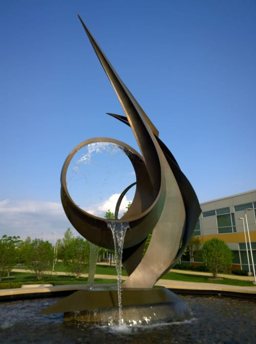 Public Sculptures by Medwedeff Forge and Design seen at College of DuPage, Glen Ellyn - Apex