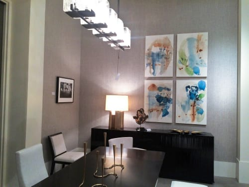 "Paintings by Ana Zanic at TOWN Studio, Denver - ""Impromptu"", abstract watercolors on wooden panels"