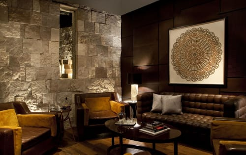 Paintings by Troy Dugas seen at Rosewood Abu Dhabi, Abu Dhabi - bar