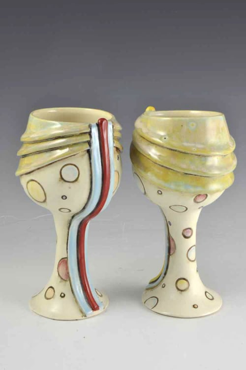 Cups by Geometric Illusion Ceramics (Tania Rustage) seen at Private Residence, Redwood Valley - Polka Dot Ceramic Wine Goblets & Matching Cooler