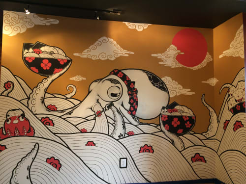 Murals by Golden Rabbit Silent Monkey at Sakuramen Ramen Bar, Washington - Ramen Octopus