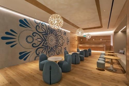 Murals by Urbanheart seen at Pure Yoga Suntec City, Singapore - Blue Lounge Mandala