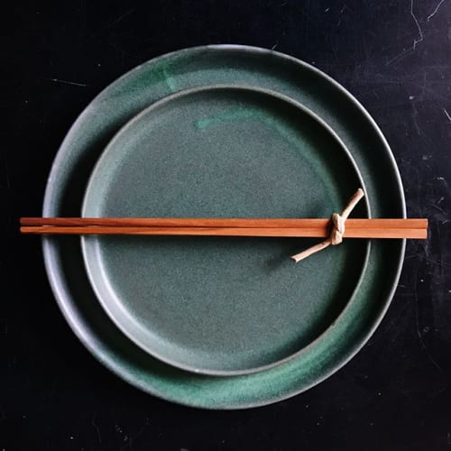 Ceramic Plates by Monsoon Pottery seen at Parachute, Chicago - Green Dinnerware