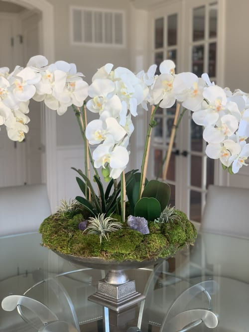 Floral Arrangements by Fleurina Designs seen at Private Residence, Los Gatos - Grand Silk Orchid arrangement