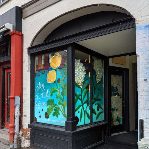 Street Murals by Julia Prajza seen at 221 Hunter St W, Peterborough - Wildflowers for the Boro - A hand painted window mural