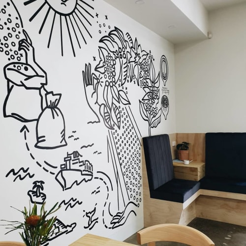 Murals by Rene Veno seen at Bricks & Mortar Coffee Co., Mount Gambier - mural (coffee journey)