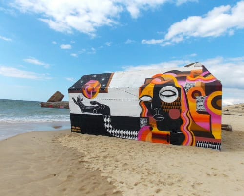 Street Murals by Expanded Eye seen at France - Blockhaus beach