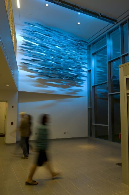 Public Sculptures by Cliff Garten seen at University of Rhode Island Graduate School of Oceanography, Narragansett - Schooling