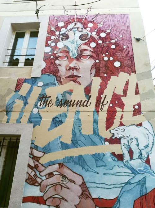 Street Murals by Tank & Popek seen at Nîmes, Nîmes - The Sound of Silence