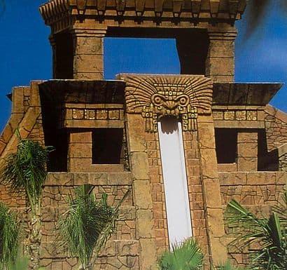 Public Sculptures by Joe Wertheimer seen at Atlantis Bahamas, Paradise Island - Mayan Pyramid Mask