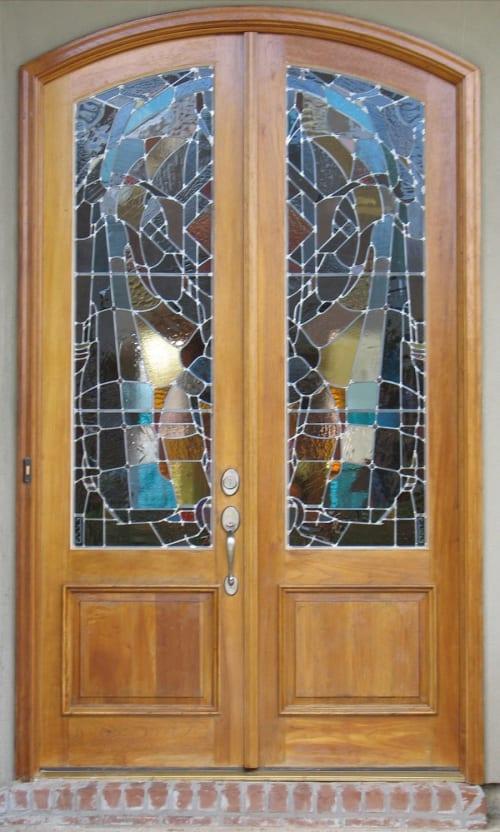 Residential artglass door pair | Interior Design by Warren Simmons