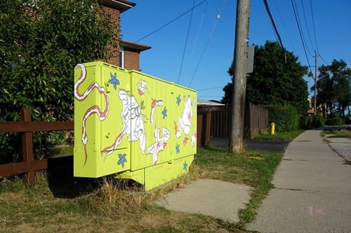 Street Murals by Loren Yeung seen at Wilmington Avenue & Maxwell Street, Toronto - Look! In the Grass!