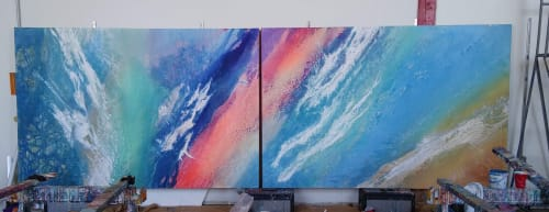 Paintings by Paul Seftel seen at Carmel-by-the-Sea, Carmel-by-the-Sea - Turning Tides-  monumental diptych with changeable orientation