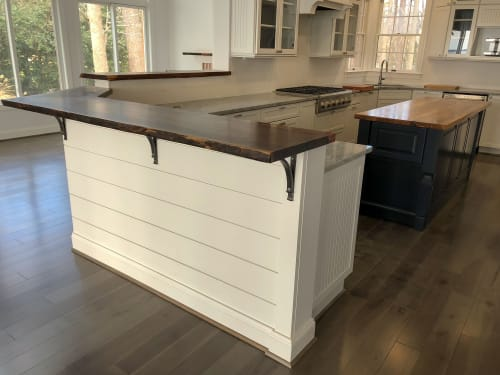 Furniture by Sallie Plumley Studio seen at Private Residence, White Stone - 2-tiered bar-top, kitchen island top, live edge mantle