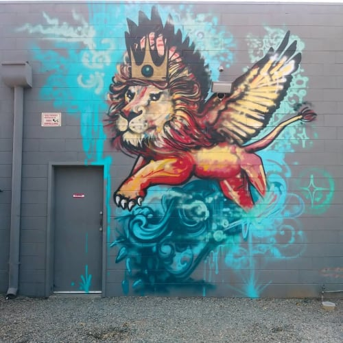 Murals by Love Ponci seen at Del Paso Heights, Sacramento - Lion Mural