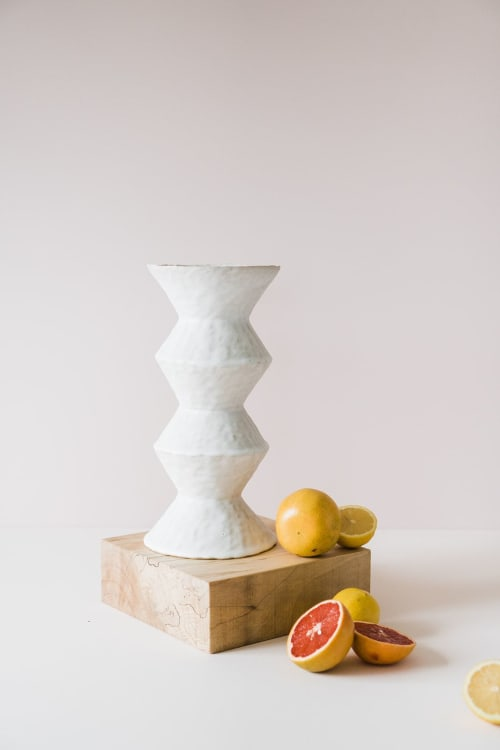Vases & Vessels by Giselle Hicks Ceramics seen at Private Residence, Helena, Helena - White Zig Zag Vessels