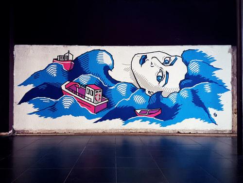"""Tape art mural """"Marsel mermaid""""   Murals by Fabifa"""