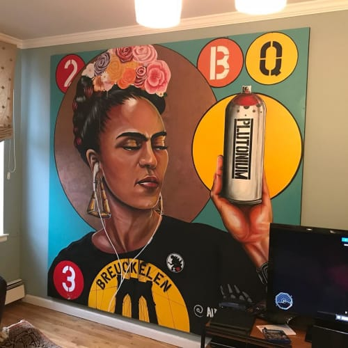 Murals by Albertus Joseph seen at Private Residence, Brooklyn - Frida Kahlo