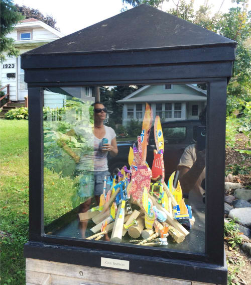 """Sculptures by Gail Simpson seen at Madison, Madison - Tiny version of """"Morning in America"""""""