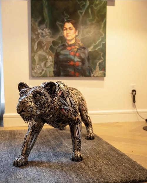 Sculptures by Brian Mock seen at Hotel Zena, Washington - Hear Me Roar