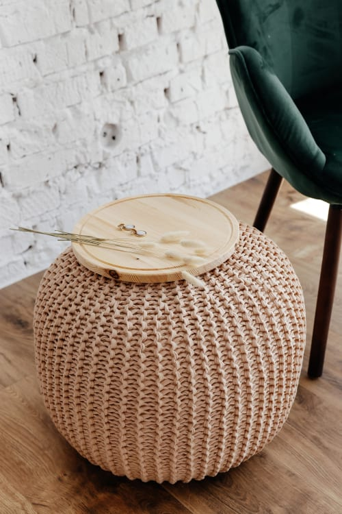 Tables by Chasha Home seen at Private Residence - Coffee Table - Pouf