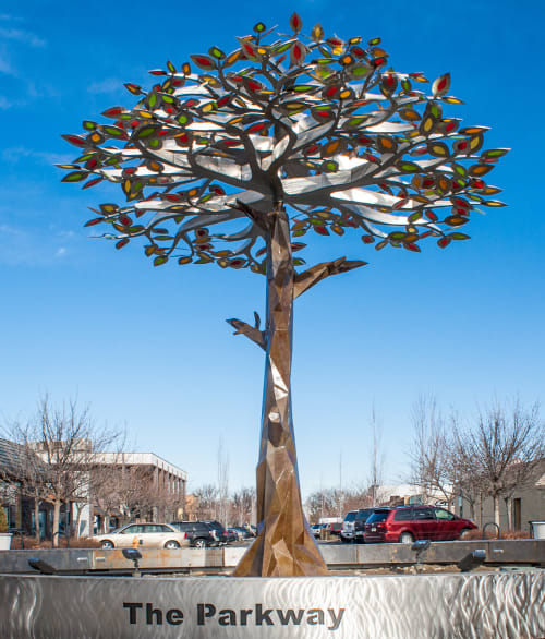Public Sculptures by CJRDesign at The Parkway, Richland - Tree of Seasons