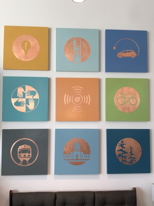 """Paintings by Open Eye Art seen at Go Forth Electric Showcase, Portland - Copper Symbols series of 9 24"""" x24"""" copper leaf on wood panel"""