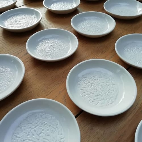 Ceramic Plates by Wendy Tournay Ceramics seen at Simpsons Restaurant, Birmingham - Butter plates