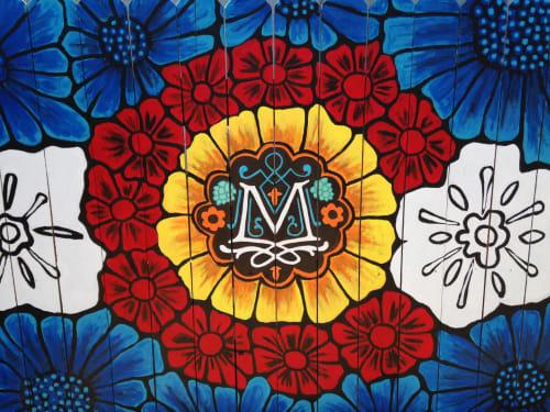 Murals by Christine Rose Curry seen at Maddie's Biergarten, Castle Rock - The Music Stage at Maddie's Biergarten