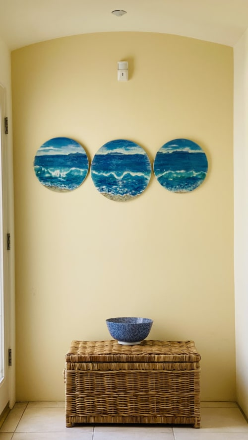 Sculptures by Sue Barry tiles seen at Creator's Studio, Camarillo - Morning wave