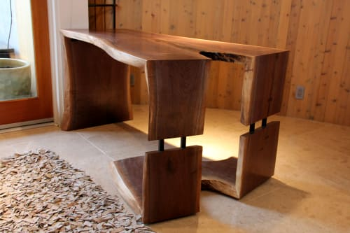Tables by AGA Design seen at Private Residence, Manhattan Beach - Steel & Grain Walnut Waterfall Desk