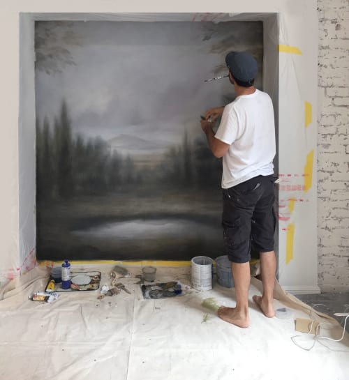 Murals by Alan Carroll Studio seen at Private Residence, New York - Hand-painted wall mural