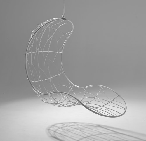 Chairs by Studio Stirling seen at Waverley, Johannesburg, South Africa, Johannesburg - Recliner - Twig Pattern - Red Hanging Swing Seat